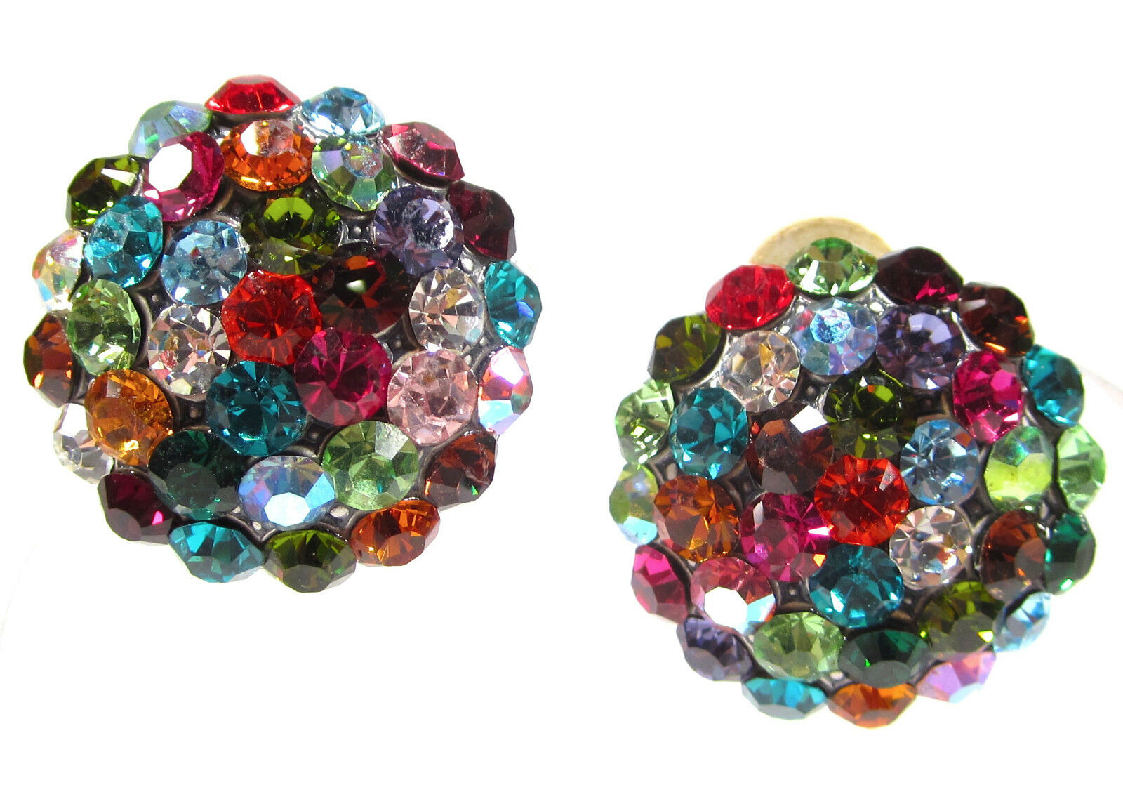 SoHo® Ohrclips große Halbkugel Strass kunterbunt Farbe geschliffene Kristalle