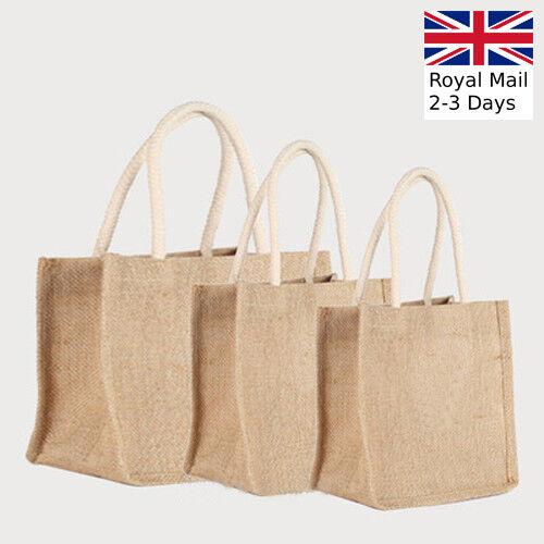 Long Handle Strong Jute Hessian Eco Reusable Shopping Bag Wholesale 4 Sizes
