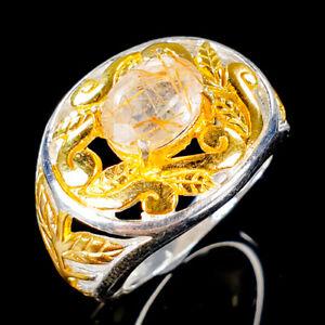 Vintage-Natural-Rutilated-Quartz-925-Sterling-Silver-Ring-Size-7-R101189