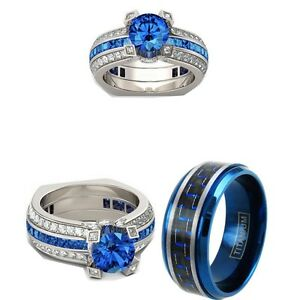 His Titanium And Her 3 Ct Cz Royal Blue couples 3pcs Engagement