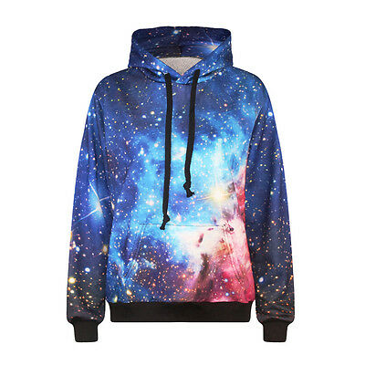 New Women Men Blue Galaxy Space 3D Print Jumper Hooded Packet Hoodies Sweatshirt
