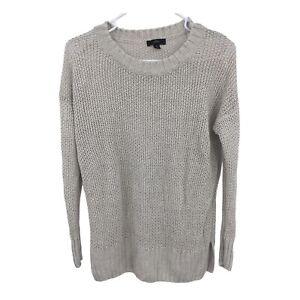 J-Crew-Womens-Long-Sleeve-Open-Knit-Linen-Beige-Pullover-Sweater-Size-XS