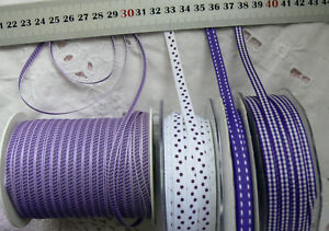PURPLE-LAVENDER-WHITE-Polyester-4-7mm-Wide-3-5-amp-10Metres-4DesignStyle-Choice
