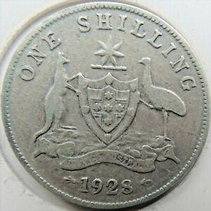 1928 AUSTRALIA George V, Silver One Shilling, Grading About FINE..