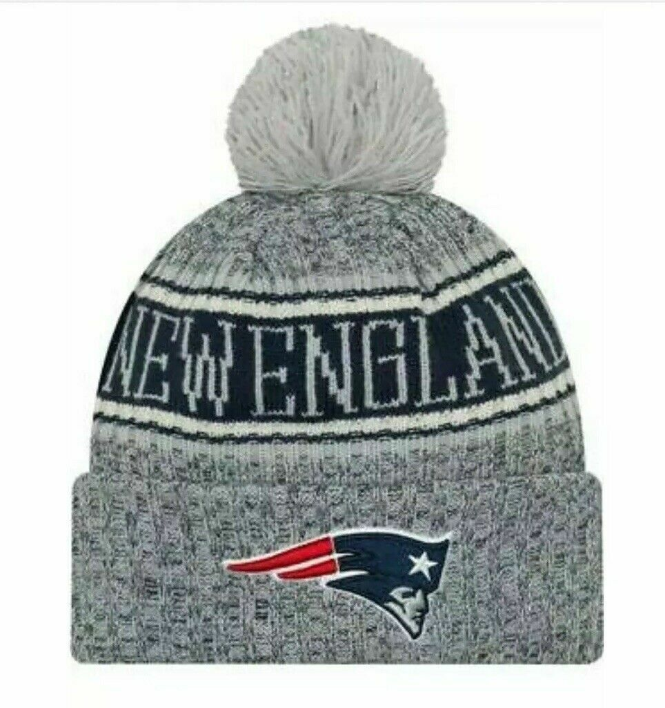 Gray Patriots beanie hat with New England script