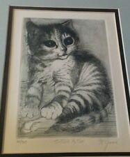 Big eyed cat kitten framed print McGinnis 22/300 black and white art large eyes