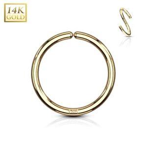 en soldes f3dbe f6b83 Détails sur Piercing anneau pliable en or jaune 14 carats pour nez oreille