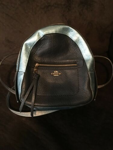 Authentic Coach Mini  Backpack Bag Leather Silver