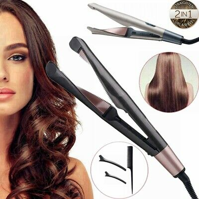 2 in 1 Hair Curler Straightener LCD Curling Iron Tong Professional Salon Ceramic | eBay