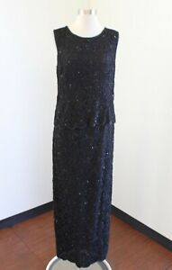 Vtg-Stenay-Black-Mesh-Lace-Sequin-Beaded-Evening-Party-Formal-Dress-Size-12