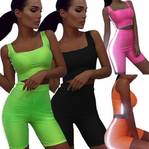 2PCS Women Sports Suit Crop Tops Yoga Pants Outfit Lady Workout Shorts Tracksuit