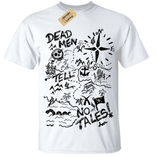 Kids Boys Girls Treasure Map T-Shirt Mens Pirate dead men tell no tales