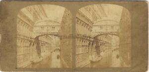 Venezia-Pont-Dei-Sospiri-Italia-Foto-Stereo-Vintage-Albumina-Ca-1860