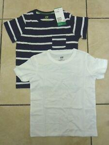 3b560660885e H M 2 Pack Boys Childrens Organic Cotton T Shirts Age 2-6 Years BNWT ...