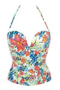 Ladies Gossard Egoboost Bandeau Plunge Multiway Tankini Top Tropical Print New