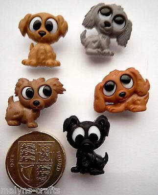 PLAYFUL PUPPIES Craft Buttons Novelty Animals Nursery Baby Children Dogs Puppy