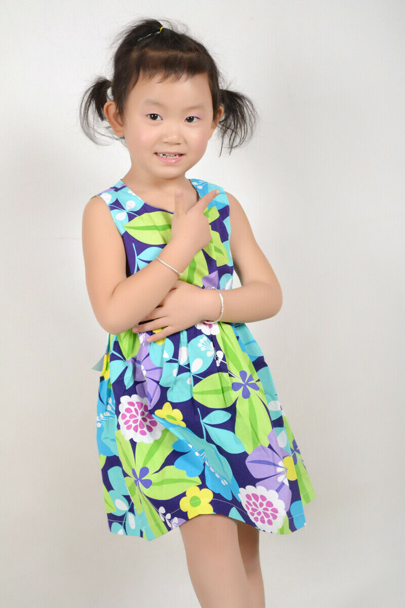 Sunny Fashion Girls Dress Blue Belt Flower Print Party Kids Sundress Size 2-10