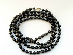 "Vintage 50"" Art Deco 1930s French Black Jet Faceted Beaded Necklace"