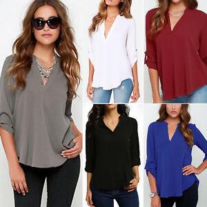 Tops Shirts Frauen Tops Shirts Bluse V-Ausschnitt Hemd Langarm T-Shirt