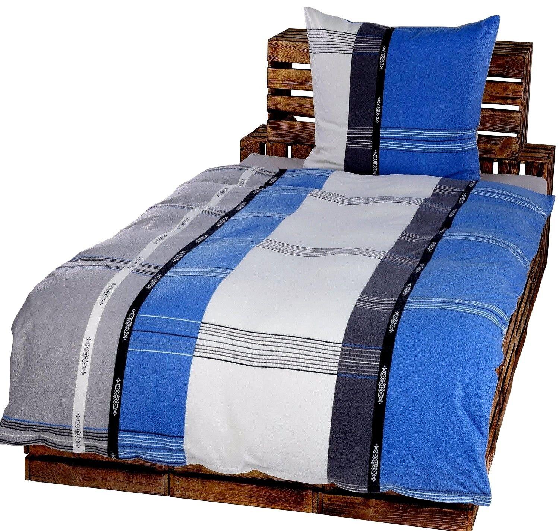 4 Teilig 155x220 Bettwäsche Mikrofaser  FLEECE  warme winter Ware Neu  Blau