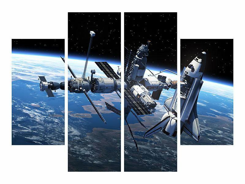Bild 4-teilig Satellit Leinwand Acrylglas Aluminium Metallic Hartschaum