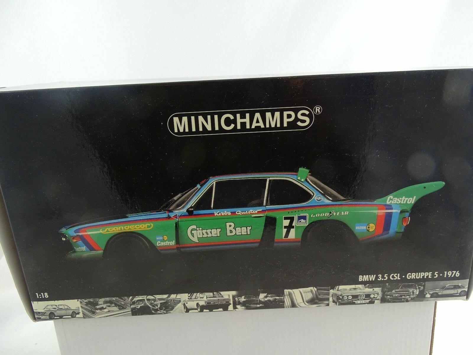 1 18 - Minichamps 1976 BMW 3.5 CLS gruppo 5 Gösser BEER  7 Rarità-Nuovo Scatola Originale