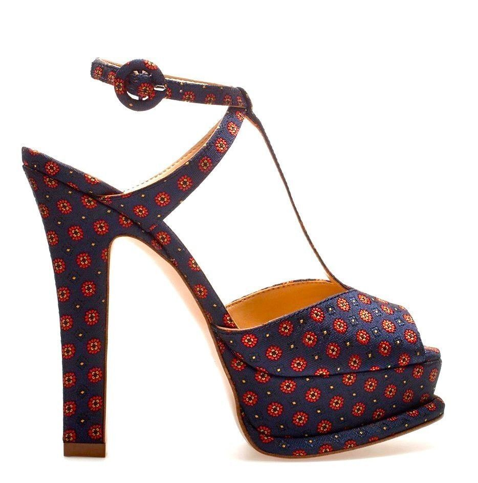 ZARA WOMAN NAVY RED SCARF FLORAL PRINTED STRAPPY PLATFORM SANDALS HEELS 8 41