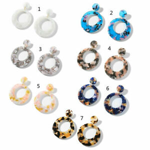 Details about Round Tortoise Shell Leopard Acrylic Acetic Acid Drop  Earrings for Women Jewelry