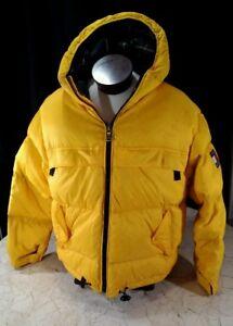 Tommy Hilfiger Yellow Down Puffer Mens Xl Coat Ski Jacket Box Logo