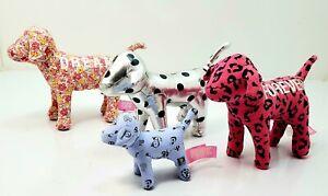 Lot of 4 Victoria Secret PINK Plush Dogs (Rare monogram) Silver one has cut tag.