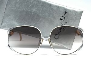 6027cf4edef Image is loading VINTAGE-CHRISTIAN-DIOR-2250-WHITE-SILVER-OVERSIZED- SUNGLASSES-