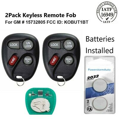 2 for 1998 1999 2000 2001 Chevrolet Blazer Keyless Entry Remote Car Key Fob Blue