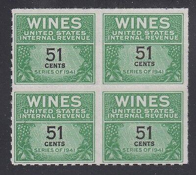 Nh U.s 1951-54 Wein Tax Briefmarke Re191 Block Postfrisch