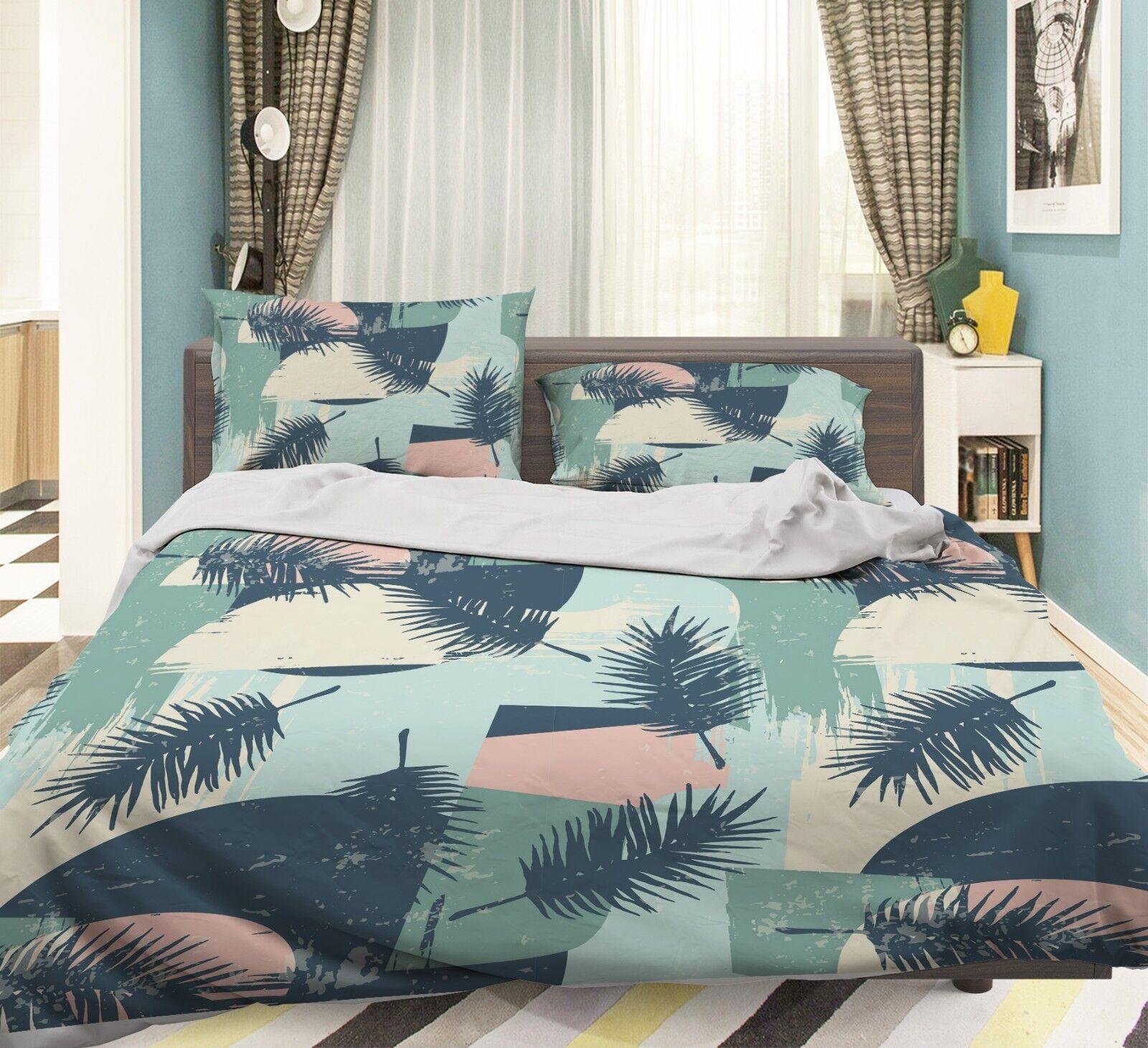 3D Retro Kunst Entwurf 55 Bett Kissenbezüge steppen Duvet Decken Set Single DE