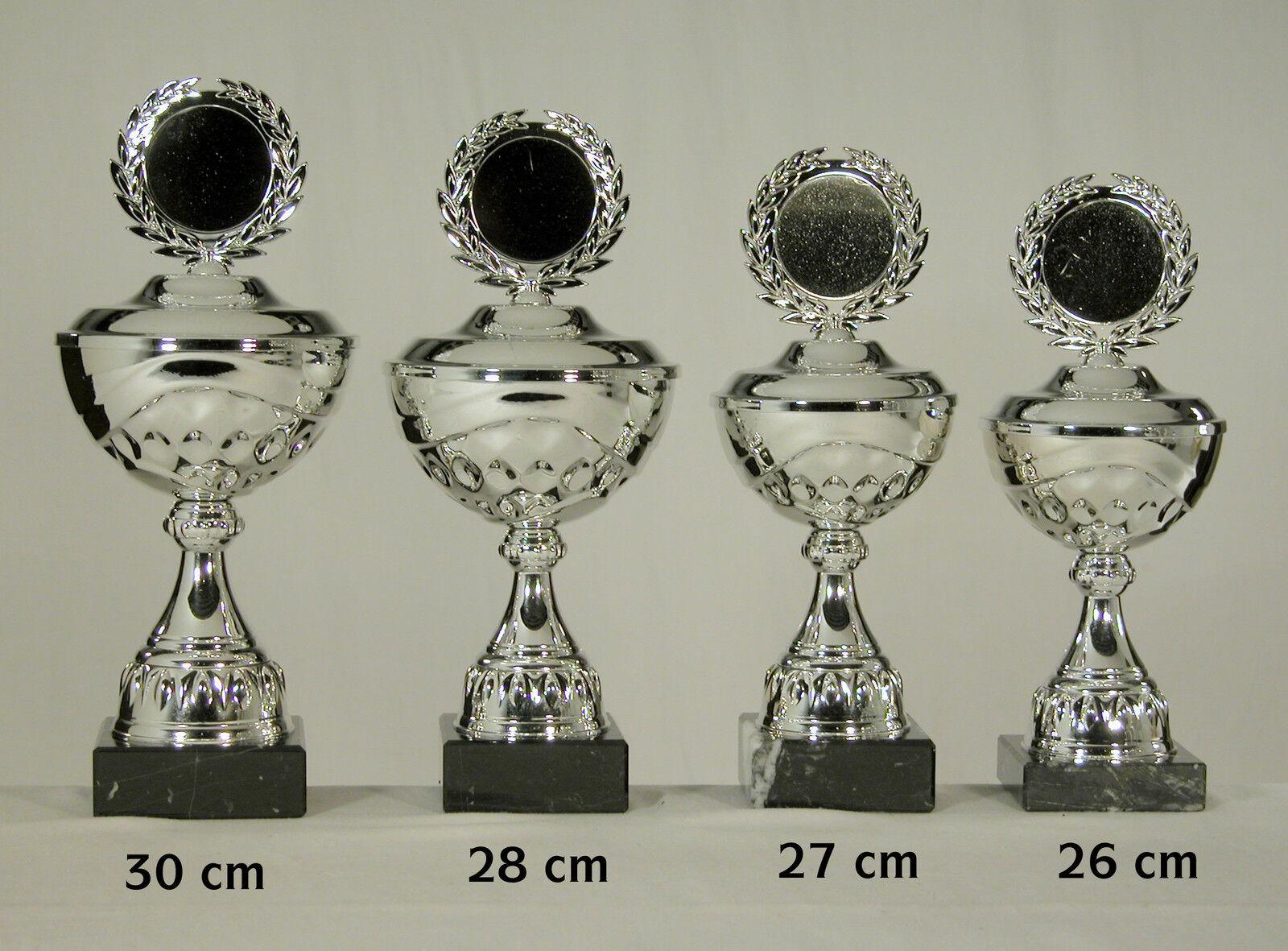 4 Pokale silbfarben silbfarben silbfarben  30 - 28 - 27 - 26 cm eischl. Text und Embl. zum SONDERPREIS dd4a43