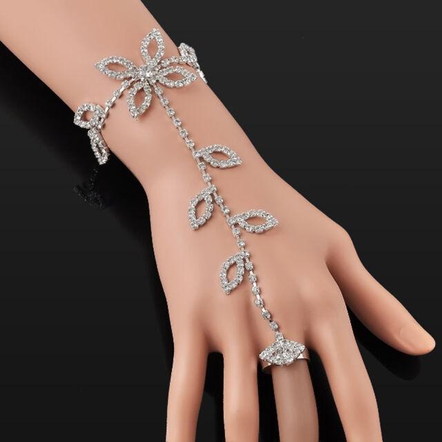 Crystal Rhinestone Leaf Hand Harness Bracelets Slave Chain Link Foot Finger Ring