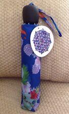 NWT DISNEY STITCH & SCRUMP COMPACT UMBRELLA BLUE FLORAL LILO & STITCH W/SLEEVE