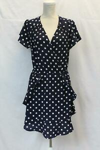 boohoo-Women-039-s-Wrap-Polka-Dot-Print-Frill-Tea-Dress-SV3-Black-Size-US-10-UK-14