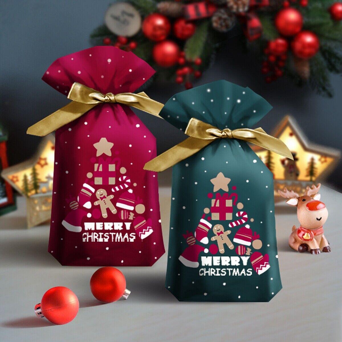 10 * Bolsa de embalaje de caramelo de Navidad Santa Claus Regalo de galletas dulces con cordón