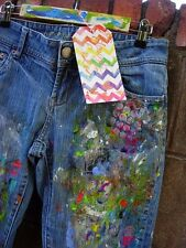 Distressed Studio Artist Painted Wearable OOAK AMERICAN EAGLE Art Denim Jeans