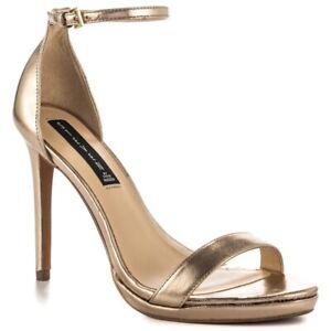 b02f49b6052 Steven by Steve Madden 8 gold ankle strap high heel sandals Rykie