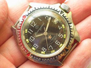 Vintage-Soviet-Vostok-KOMANDIRSKIE-Military-Watch-Rare-Black-Dial-Zakaz-MO-USSR