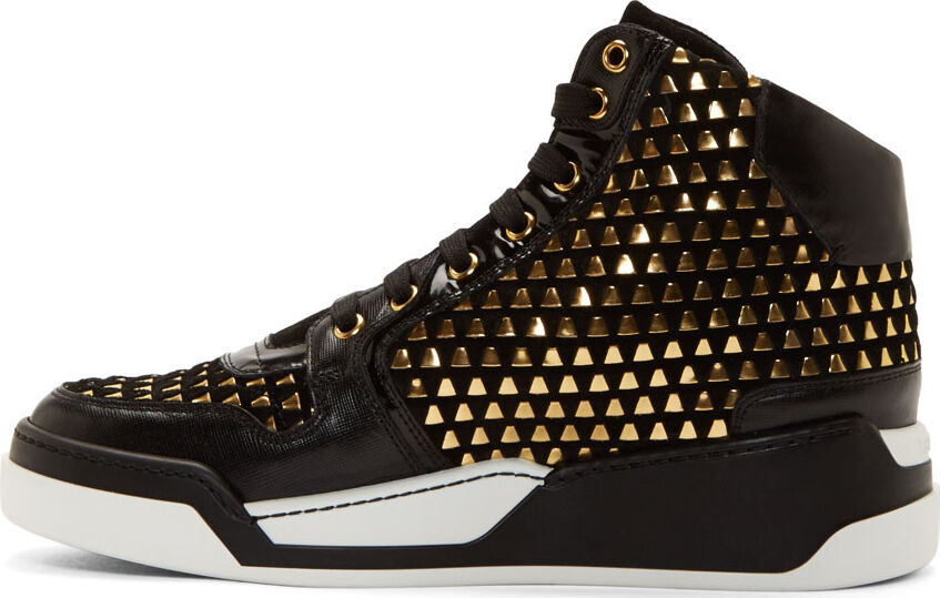 New Versace  Black Suede Gold Weave High-Top Sneakers w/Gold Medusa 43 - 10