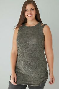 YOURS-Knitted-Sleeveless-Cut-Out-Detail-Neck-Top-16-32-Uk-BNWT-21-98-Khaki-Grey