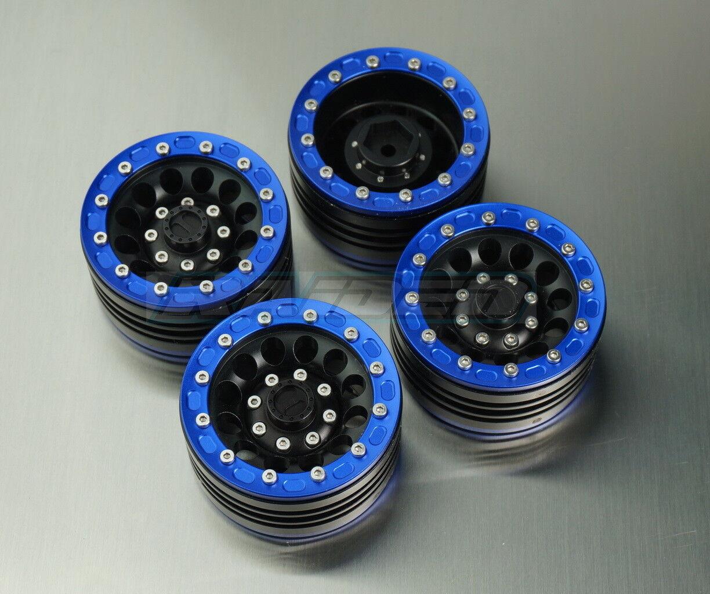 1/10 1.9 12 Spoke Aluminium Crawler Wheels Rims SCX10 II CC01 D90 TRX-4 blu