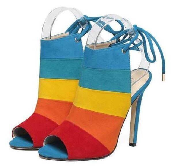 Sandals botas elegant stiletto heel 11 cm Colorful Synthetic leather 9854