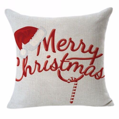 Christmas Cotton Xmas Pillow Cushion Cover Throw Case Sofa Home Car Decor Linen