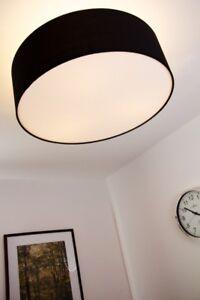 Deckenleuchte deckenlampe stoff lampe leuchte schwarz 3 fl for Deckenleuchte stoff eckig