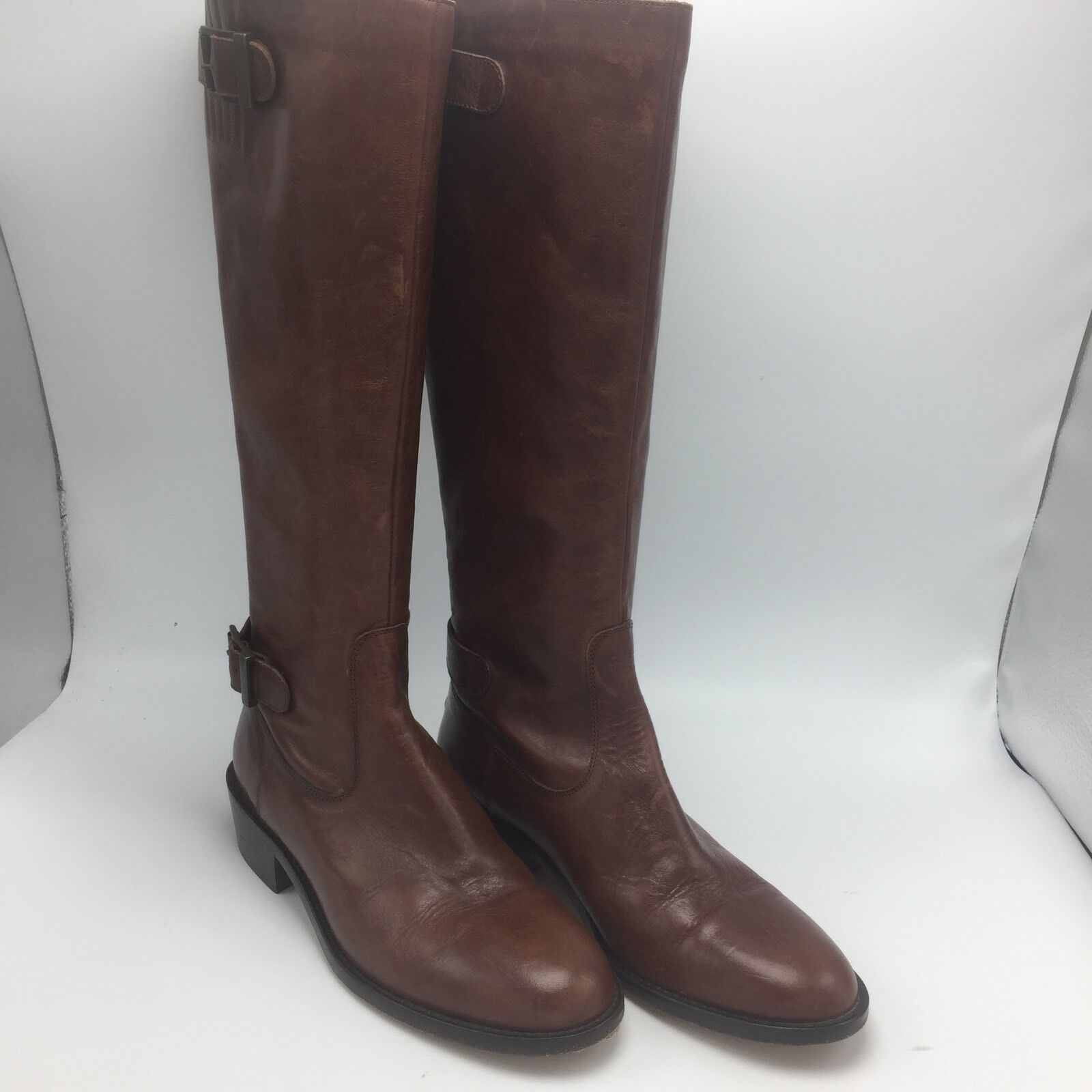 Saks Fifth Ave Leather Tall Boots Size 39 8 1/2 M Brown Low Heel Knee Hi Buckles