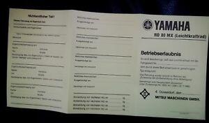 11 x abe YAMAHA RD 80 MX Betriebserlaubnis Blanko Leichtkraftrad BRD  1974 1981